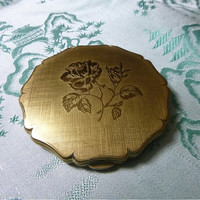 1960's GOLD ROSE Stratton Compact New Old Never Used Mid Century Vintage Roses Compact Vanity Case Gold Compacts Unused Stratton England