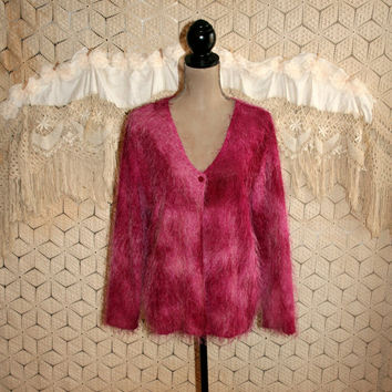 Vintage Plus Size Cardigan Sweater Dark Pink Tie Dye Hippie Boho Eyelash Yarn Fuzzy Hippie Clothing Boho Clothing Size 18 2X Womens Clothing