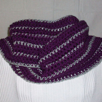 Purple Scarf Handmade Crochet with Silver Gray Stripes and Fringe