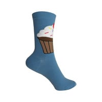 Big Cupcake Crew Socks in Blue