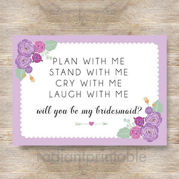 Maid of Honor/Will You Be My Bridesmaid Invitation/Card- INSTANT DOWNLOAD BR04-2