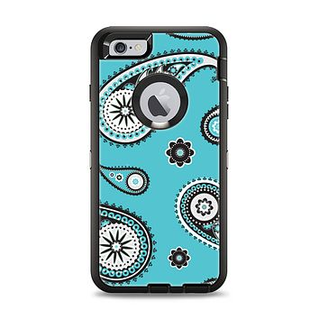 The Vivid Blue & Black Paisley Design Apple iPhone 6 Plus Otterbox Defender Case Skin Set