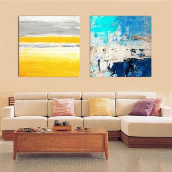 HAOCHU Abstract Canvas Painting Color Striped Picture Nordic Modern Home Decor Wall Art Poster Sofa Office Hotel Corridor Supply
