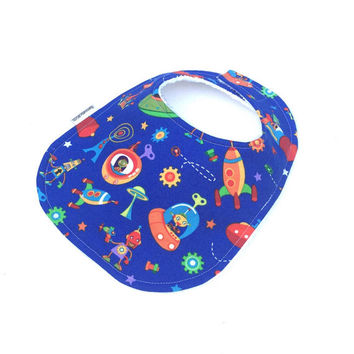 Baby Boy Bibs - Newborn Boy - Baby Bibs - Spaceship Baby Bib - Baby Shower Gift - Infant Bibs - Toddler Boy Bib - Blue Baby Bib - Baby Bib