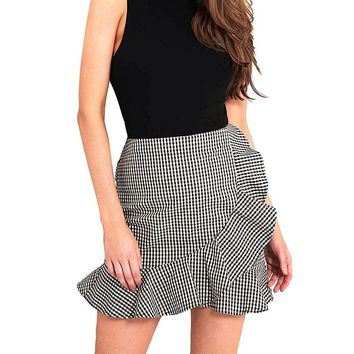 Classy Checkered High Waist Plaid Ruffle Mini Bodycon Skirt