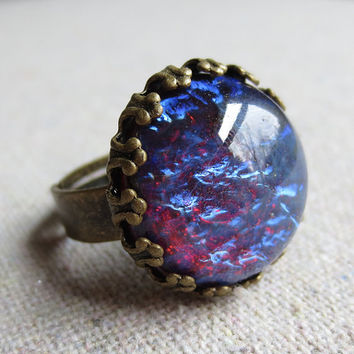 Dragons Breath Mexican Fire Opal  Glass Aged Brass Cocktail Statement Adjustable Crown Ring, Galaxy Stone, Gift for Her