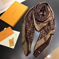 LV Women Smooth Cashmere Warm Winter Cape Scarf Scarves F