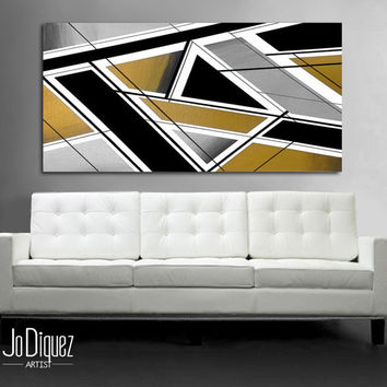 "Original abstract painting. 24x48"" Canvas art. Metallic painting. Modern wall art. Large painting. Minimalist wall decor. Gold and silver"