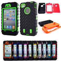 Tire Dual Layer TPU + Hard Plastic 3 in 1 Armor Hybrid Protection Back Case For Apple Iphone 4S 4G phone Cases