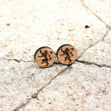 Lannister Lion Wooden Cufflinks Game of Thrones Lion Cuff Links Groomsmen Accessory Rustic Wood Groom Gift Wedding Cufflinks Gift for Him