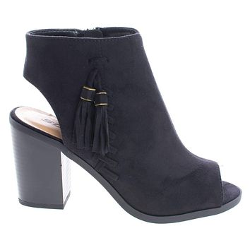 Ecoya By Soda, Ankle Booties Peep Toe Sling Back Stack Heel Booties w Tassel & Zipper