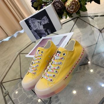 Kuyou Gx19712 Converse All Star Color Tag Jelly Rainbow Bottom Yellow Canvas Sneakers