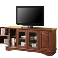 "52"" Wood TV Stand with Media Storage (Brown) (52""W x 24""H x 16""D)"