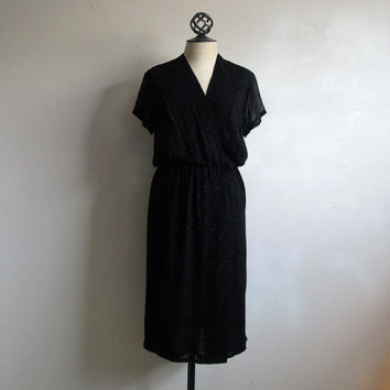 Vintage WAYNE CLARK 70s Chiffon Dress Black Metallic Fleck Designer LBD 1970s Designer Evening Dress 12US