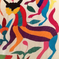Vtg XL Otomi Embroidery Bedspread Hanging