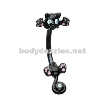 Black Just Kittying Around Belly Button Ring Navel Ring 14ga
