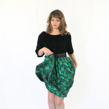 60s Emerald Dress.  Black  Green Dress.  Velvet  Dress.  Brocade Dress. Cocktail Dress. Holiday Dress. Mad Men Fashion. Wedding.