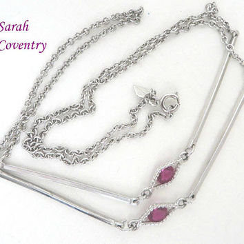 Vintage Sarah Coventry Necklace | Silver Tone Chain Link Pink Rhinestone Long Necklace