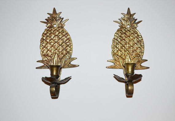 Vintage Brass Pineapple Candle Holders From Judysjunktion