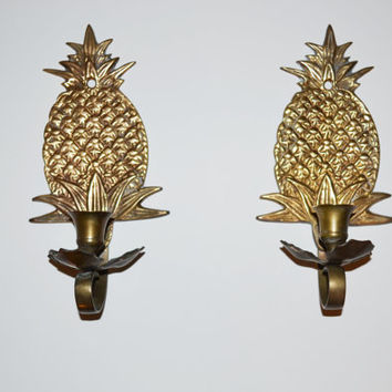 Vintage Brass Pineapple Candle holders Pineapple Wall Sconce Pineapple Candle Holders Brass Candle Sconces