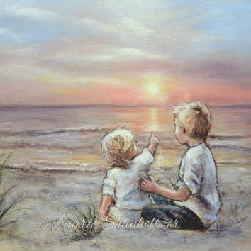 "Brother Sister Beach sunrise sunset ""Good Morning Sunshine"" flat canvas or art paper archival Print, kids wall art, Laurie Shanholtzer"