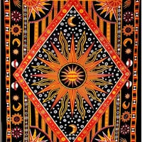 Celestial Orange Tapestry : Astrology, Wall Decoration, Dorm Room Decoration, Hippie, Bohemian, New Age