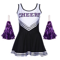 LADIES Cheerleader SCHOOL GIRL Fancy Dress Uniform Party COSTUME OUTFIT +POM POM