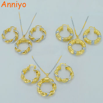 Anniyo Arab Necklace Earrings sets Mix Gold Color African Ethiopian Jewelry Dubai/Israel/Sudan/Middle East Necklaces #000914