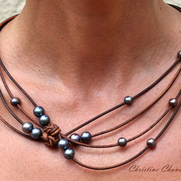 Pearl and Leather Jewelry - Brown Peacock Reef Knot Necklace - Pearl and Leather Jewelry Collection