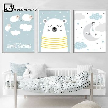 Nursery Wall Art Canvas Poster Blue Cartoon Moon Cloud Print Painting Simple Nordic Kids Decoration Picture Boys Bedroom Decor
