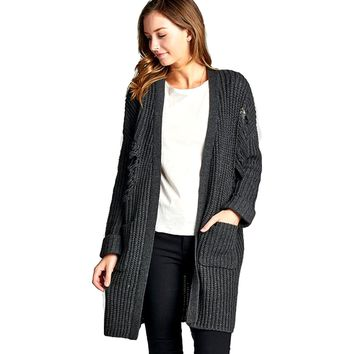 Long Sleeve Distressed Long Cardigan Sweater with Pockets, Charcoal