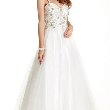Beaded Bodice A-line Ball Gown with Spaghetti Straps Off White