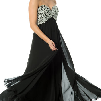 Applique Lace & Crystals Long Prom Dress