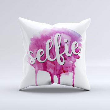 The But First, Selfie ink-Fuzed Decorative Throw Pillow
