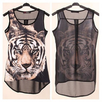 Tiger Print Sleeveless Chiffon Top