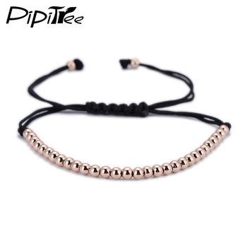 Trendy Handmade Brand Men Bracelet Macrame Jewelry 4mm Copper Beads Braided Strand Woven Charm Bracelets & Bangles for Men Women