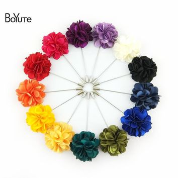 BoYuTe 5Pcs High Quality Hand Made Fabric Flower Lapel Pin Fashion Men's Suit Wedding Brooch