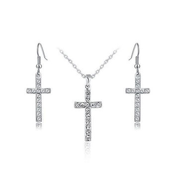 Silver Cross Pendant Necklace and Earrings