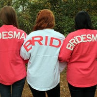 Monogrammed Coral Bridesmaid's Spirit Football Jersey