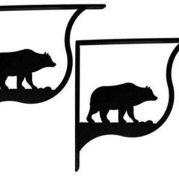 Wrought Iron Bear Shelf Brackets Corner Accent -3 Sizes Available