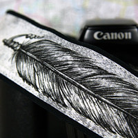 Feathers Camera Strap, Hand Painted Pen and Ink, Organic back, One of a Kind, dSLR or SLR, Black, grey, gray, 14-5