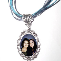 "Personalized Memorial Photo Pendant Necklace Antiqued Silver Crystal Charm with 16"" Blue Ribbon Chain - FREE SHIPPING"