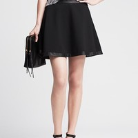 Banana Republic Womens Faux Leather Trim Full Skirt
