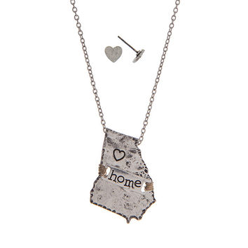 Georgia Home State Necklace with Heart Earrings in Silver