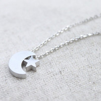 Silver Silver Moon and Star Necklace, 925 Silver Star and Crescnt Pendant, Anniversary, Birthday, Christmas, Gift