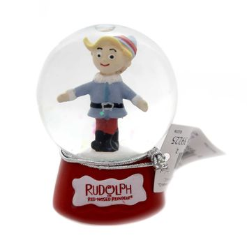 Christmas RUDOLPH SNOWGLOBE Glass Red Nose Reindeer 39225 Hermey