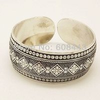 Gypsy Square Flower Metal Tibetan Silver vintage retro Fashion Cuff Bracelet Bangle Free Shipping  for her
