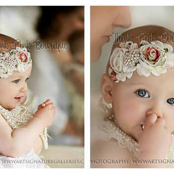Ivory petti lace romper and FLORAL headband SET by ThinkPinkBows