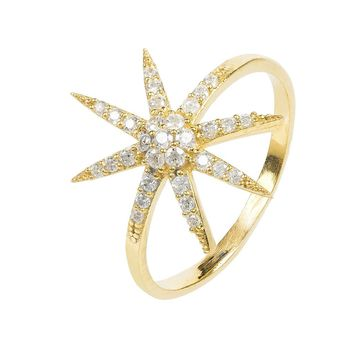 Star burst Ring Gold