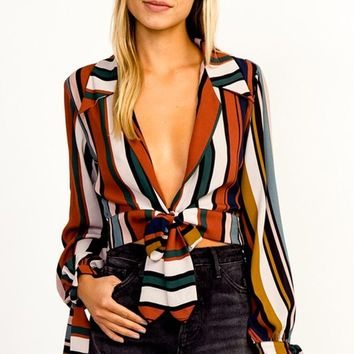 Anything Might Happen Multicolor Vertical Stripe Pattern Long Sleeve Tie Cuffs Plunge V Neck Tie Waist Blouse Top